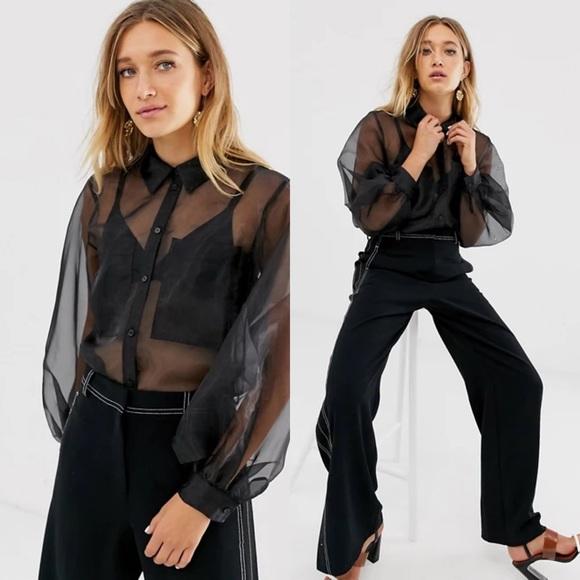 [ASOS DESIGN] organza long sleeve shirt